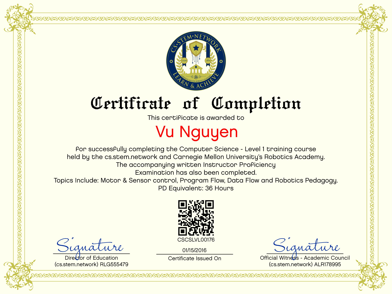 stem certificate cs certifications students